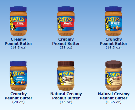 Variety of Planters Peanut Butter products