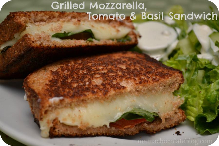 Grilled Mozzarella Tomato Basil Sandwich