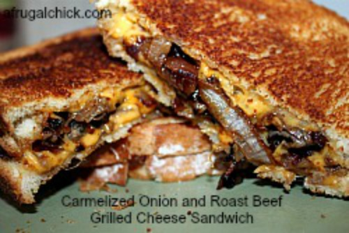 Carmelized onion roast beef sandwich