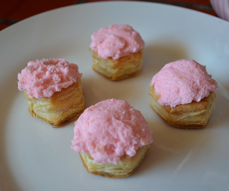 Pastry Puff Cups with Strawberry Creme Mousse