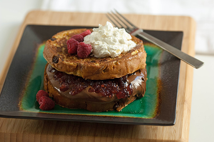 Raspberry Jam & Hazelnut Spread Stuffed Panettone French Toast