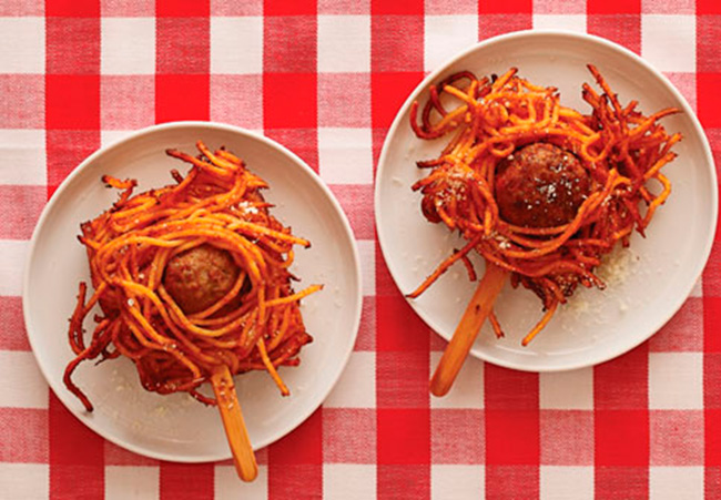 Deep Fried Spaghetti & Meatballs On A Stick