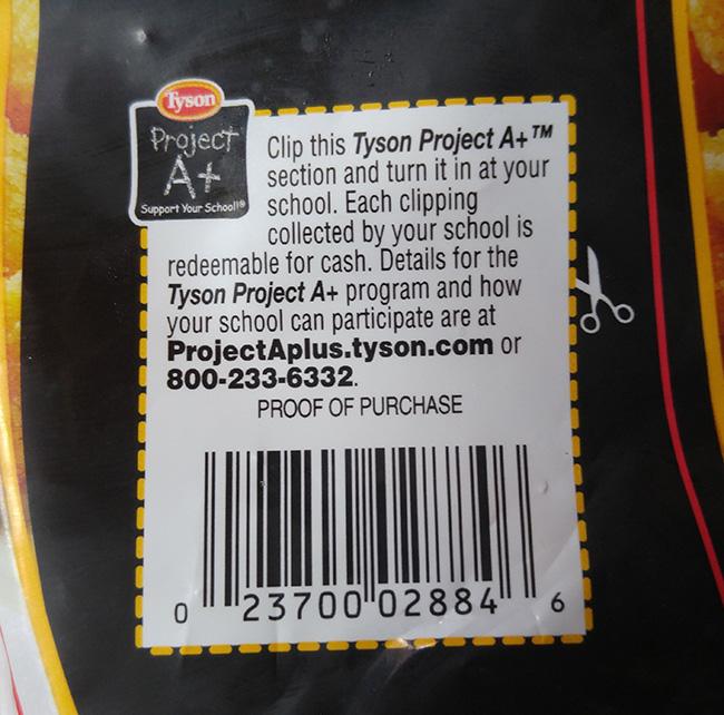 Tyson Project A+™ program label