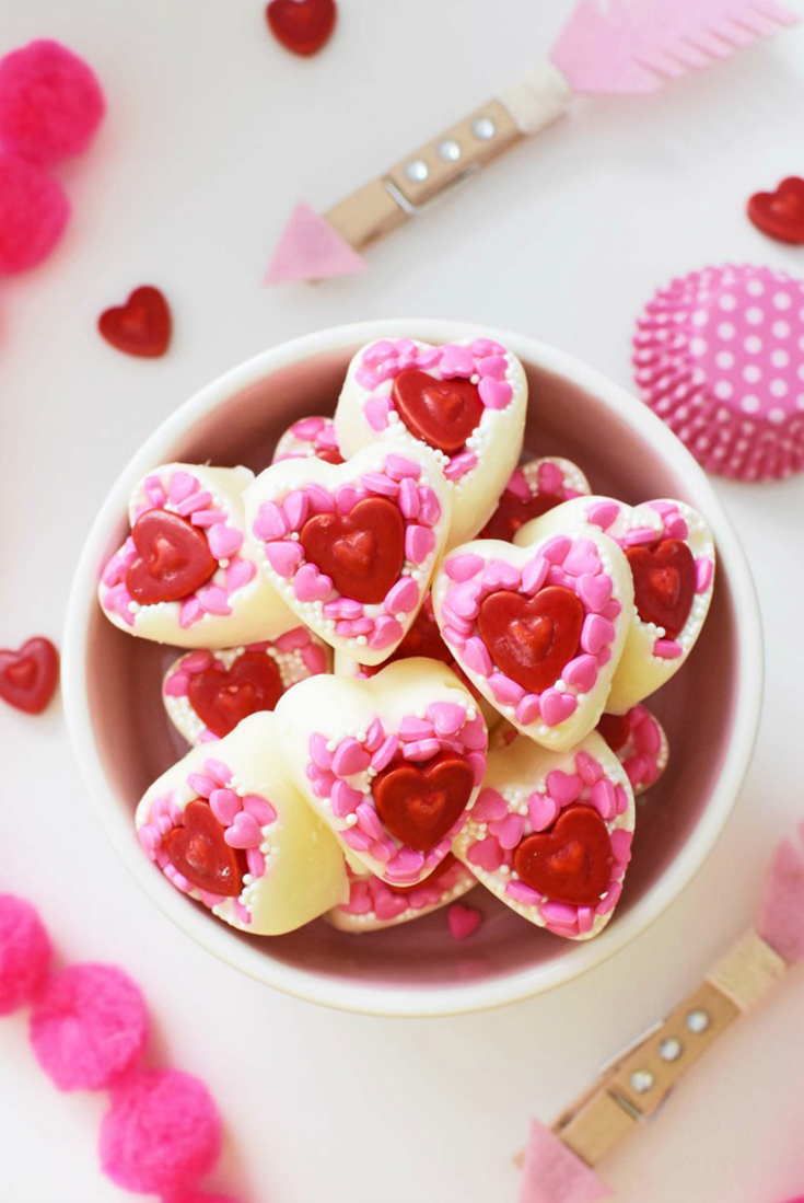 DIY White Chocolate Valentine's Day Candy Hearts