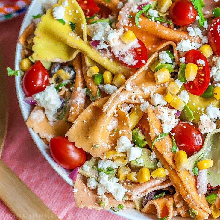 Mexican Pasta Salad With Creamy Creamy Chipotle Lime Dressing